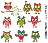 cute colorful owls collection.... | Shutterstock .eps vector #139295537