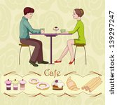 loving couple in cafe | Shutterstock .eps vector #139297247