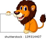 cute lion cartoon with blank...