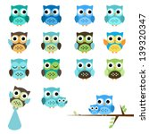 Vector Set of Boy Baby Shower Owls