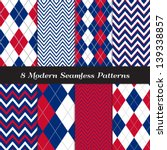 Patriotic Argyle and Chevron Patterns in Red, White and Blue with Silver lines. Perfect as 4th of July or Nautical background. Pattern Swatches made with Global Colors.