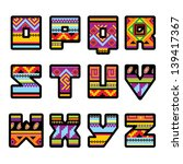set of letters with the design... | Shutterstock . vector #139417367