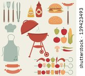 barbecue and picnic icons set. | Shutterstock .eps vector #139423493