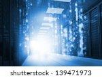 glowing blue matrix falling in... | Shutterstock . vector #139471973