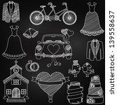 chalkboard style wedding themed ...   Shutterstock .eps vector #139558637