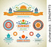 retro summer labels and signs.... | Shutterstock .eps vector #139609973