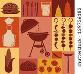 barbecue and picnic icons set.   Shutterstock .eps vector #139726183