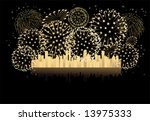 2013  year new year fireworks... | Shutterstock .eps vector #13975333