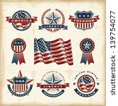 vintage american labels set.... | Shutterstock .eps vector #139754077