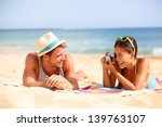Beach Fun Couple Travel. Woman...