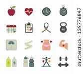 fitness icons and health icons... | Shutterstock .eps vector #139776847