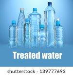 different water bottles on blue ...   Shutterstock . vector #139777693
