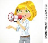 cute  girl speaks in a...   Shutterstock .eps vector #139825813