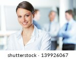happy businesswoman with