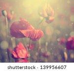vintage poppy flower. | Shutterstock . vector #139956607