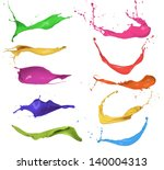 collection of colored paint... | Shutterstock . vector #140004313