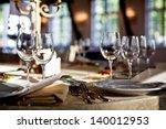empty glasses set in restaurant | Shutterstock . vector #140012953