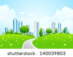 green landscape with city road... | Shutterstock . vector #140039803