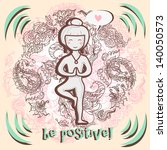 cute vector card for yoga and... | Shutterstock .eps vector #140050573