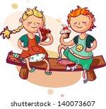 little boy and girl eating... | Shutterstock .eps vector #140073607