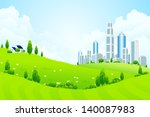 green landscape with city house ... | Shutterstock . vector #140087983