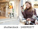 young woman using a smartphone... | Shutterstock . vector #140090377