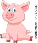 cute pig cartoon | Shutterstock .eps vector #140172637