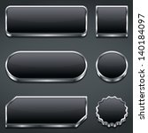 set of blank dark buttons ...