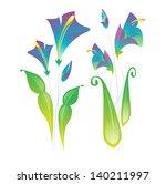 purple flowers in fold style | Shutterstock .eps vector #140211997