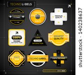 set of 9 labels in techno style.... | Shutterstock .eps vector #140238637