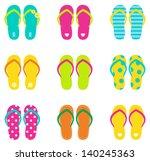 Summer Flip Flops Set Isolated...