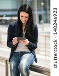 young woman reading book on... | Shutterstock . vector #140246923