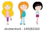 three cute girls | Shutterstock .eps vector #140282263