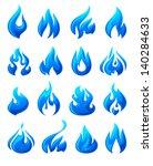 Fire Flames  Set 3d Blue Icons...