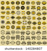 81 Taxi insignia - vintage style. Big set, vector illustration