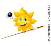 smiling sun is playing billiards
