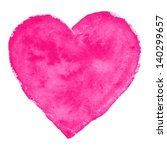 Watercolor  Pink Heart  Vector...