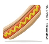hot dog with mustard | Shutterstock .eps vector #140304703