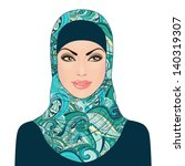 portrait of muslim beautiful... | Shutterstock .eps vector #140319307