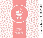 Vector Pink Card With Baby...
