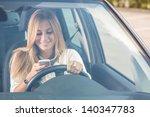 young woman sending messages... | Shutterstock . vector #140347783