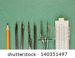 old drawing tools on a green... | Shutterstock . vector #140351497