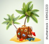 travel suitcase on beach with... | Shutterstock .eps vector #140412223