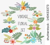 Stock vector vector set with vintage flowers 140433373