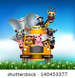 Stock vector funny animal cartoon on yellow car 140453377