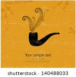 vintage postcard. retro pipe on ... | Shutterstock .eps vector #140488033