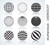 set of 9 globes  abstract... | Shutterstock .eps vector #140503147