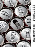 Small photo of Energy drink cans top view