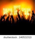 hands in the air   fans at a... | Shutterstock .eps vector #140521513
