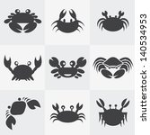 Set of vector crab icons - stock vector